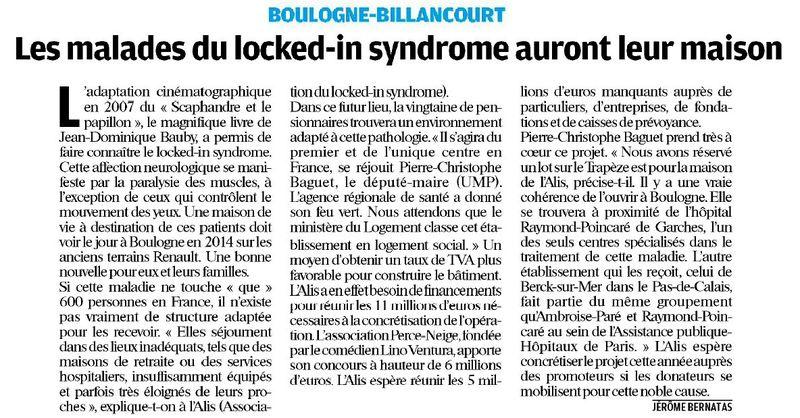 110309 Le Parisien - Les malades du locked-in syndrome auront leur maison