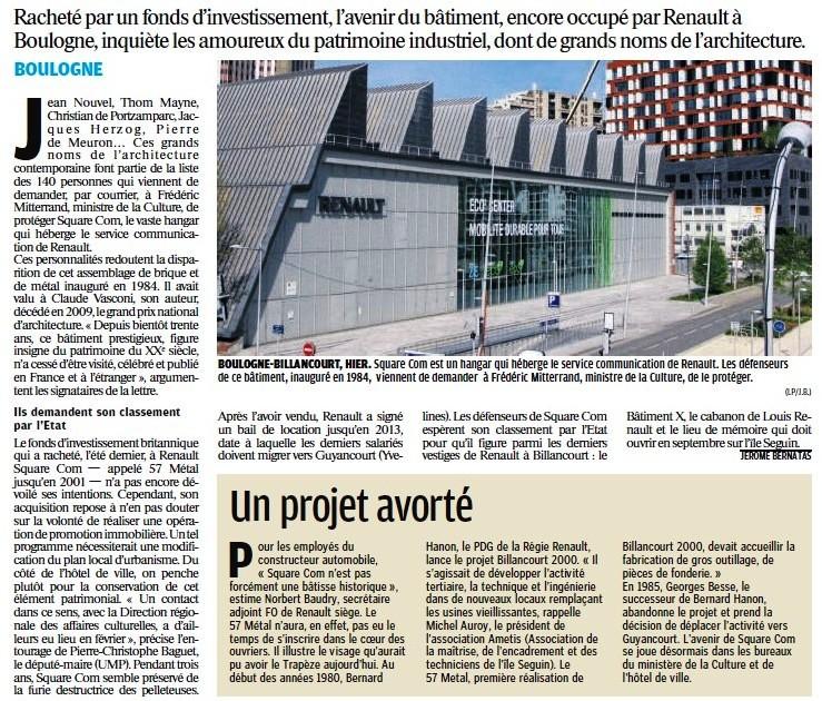 Les architectes veulent sauver le bâtiment renault