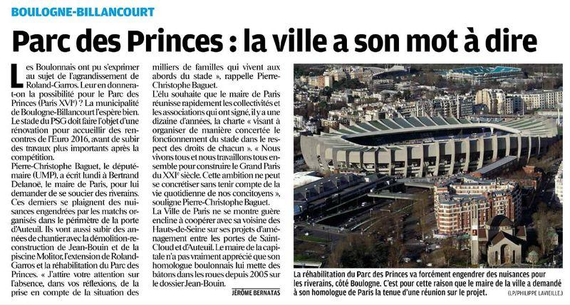 120614 Le Parisien - Parc des Princes, la ville a son mot à dire