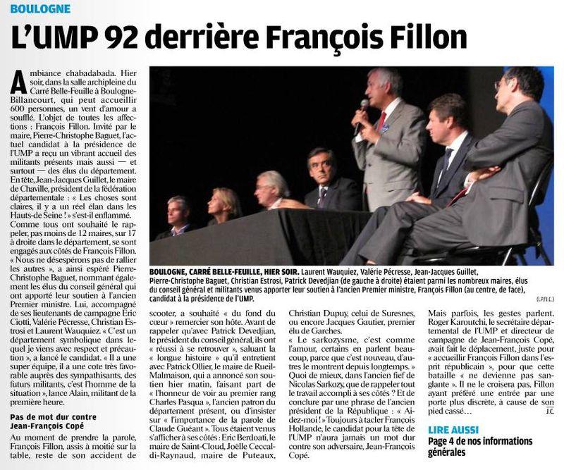 120918 Le Parisien - L'UMP92 derrière Fillon
