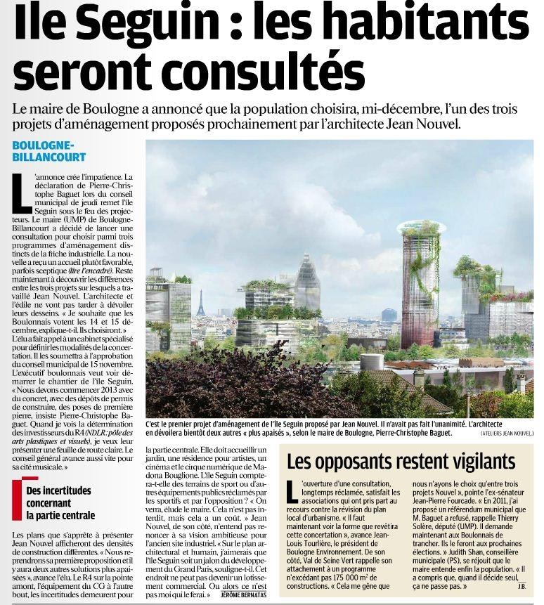 121020 Le Parisien Hauts-de-Seine - Une - Ile Seguin, les habitants seront consultés