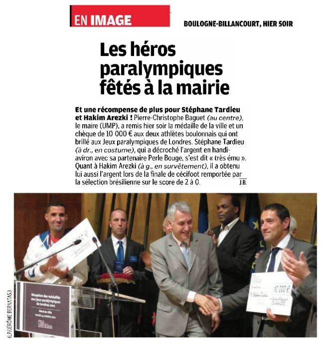 121024 Le Parisien - Les héros paralympiques fêtés à la mairie