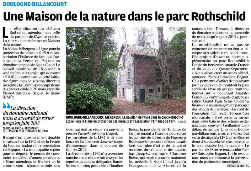 121027 Le Parisien - Une maison de la nature à Rothschild