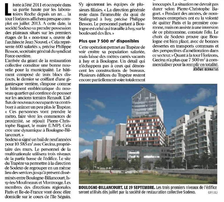 121025 Le Parisien - La tour Horizons affiche presque complet