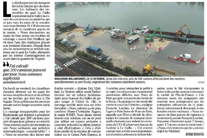 121026 Le Parisien - Le port trop bruyant pour les riverains