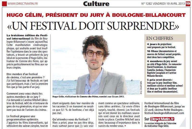 130419 Direct Matin - Festival du Film de Boulogne-Billancourt