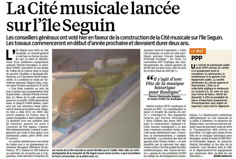 130622 Le Parisien - La Cité musicale lancée sur l'IS