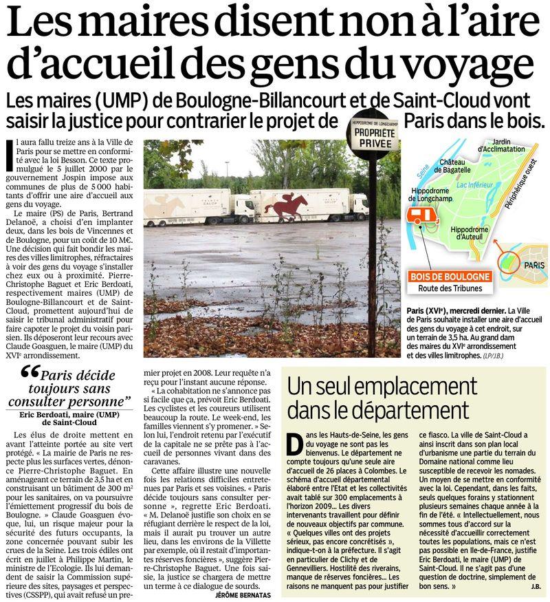130924 Le Parisien - Les maires disent non à l'aire d'accueil des gens du voyage1