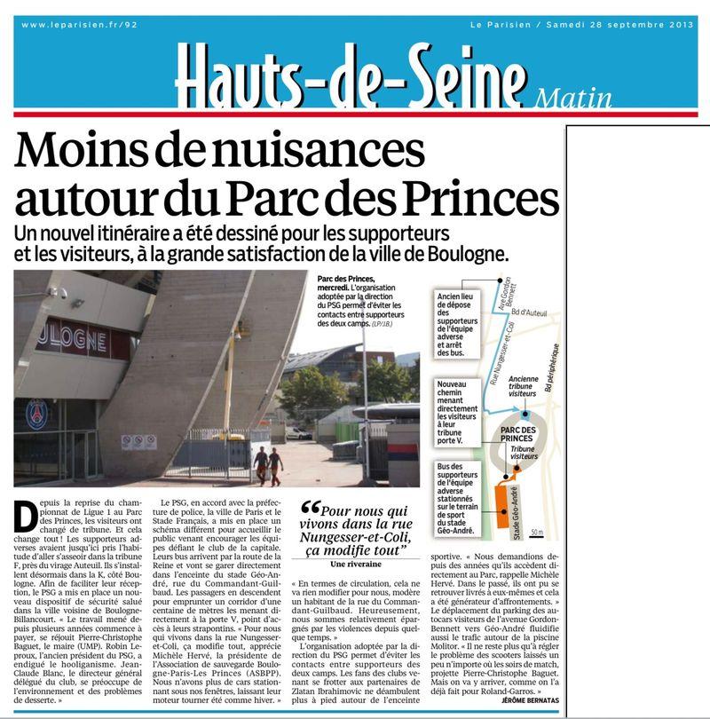 130928 Le Parisien - Moins de nuisances autour du Parc des Princes2