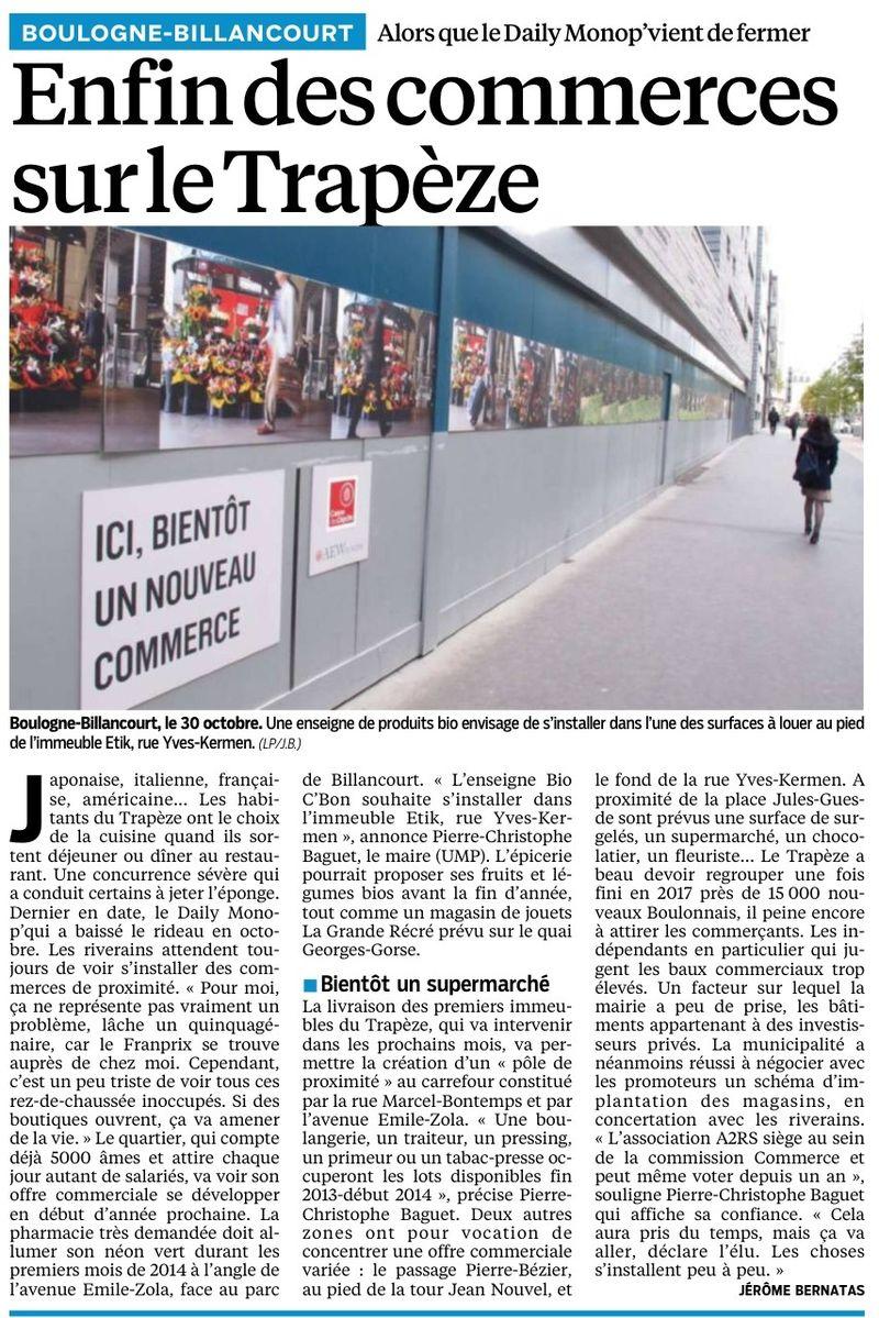 131004 Le Parisien - Enfin des commerces sur le Trapèze