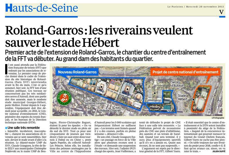 131120 Le Parisien - Roland Garros, les riverains veulent sauver le stade Hébert