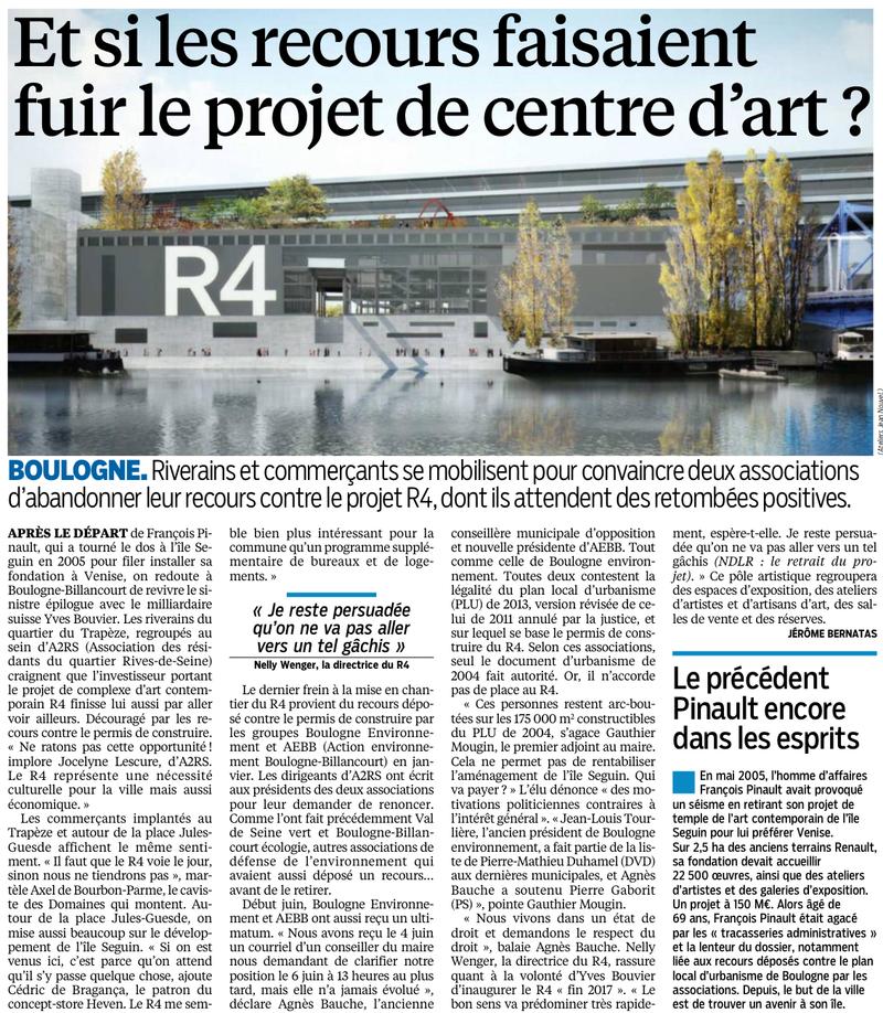 140616 Le Parisien - Et si les recours faisaient fuir le centre d'art