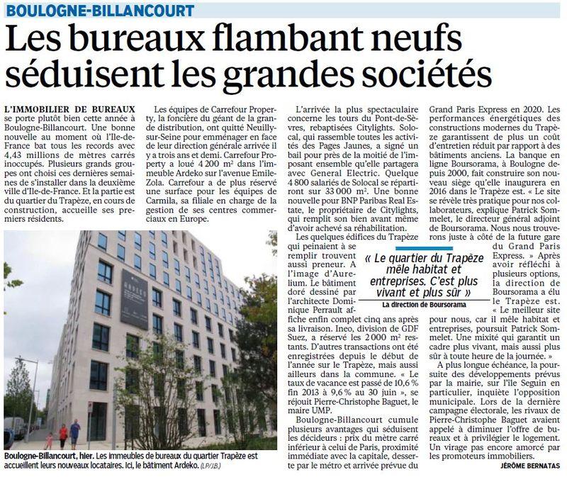 140723 Le Parisien - L'immobilier de bureau se porte bien à BB